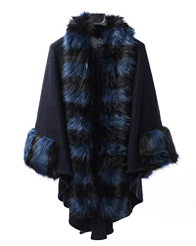 World of Accessories - Poncho - Femme noir/bleu