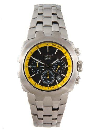 Caterpillar YELLOW STEEL CA1522 - Reloj analógico de caballero de cuarzo con correa de acero inoxidable plateada (cronómetro)