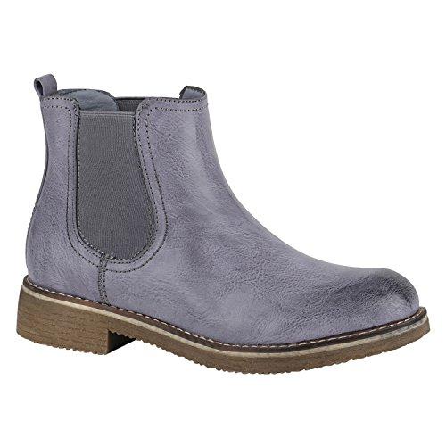 843b3a589820 Stiefelparadies Stiefelparadies Damen Stiefeletten Chelsea Boots Leicht  Gefütterte Ankle Booties Leder-Optik Schuhe Profilsohle 148931