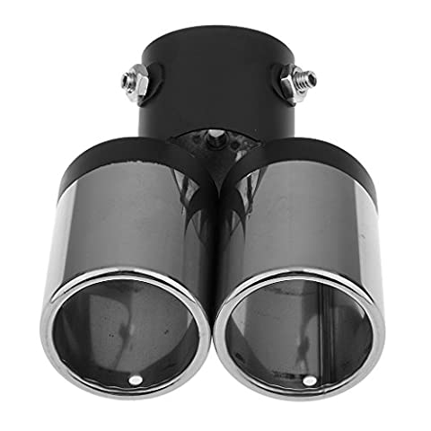 MagiDeal Twin Dual Exhaust Trim Tips Muffler Pipe Chrome Tail Up To 60mm Universal