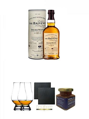 Balvenie 12 Jahre Speyside Double Wood Single Malt Whisky 0,7 Liter + The Glencairn Glass Whisky Glas Stölzle 2 Stück + Schiefer Glasuntersetzer eckig ca. 9,5 cm Ø 2 Stück + Glenfarclas 21 Jahre Whisky Orangen Gelee 150 Gramm Glas