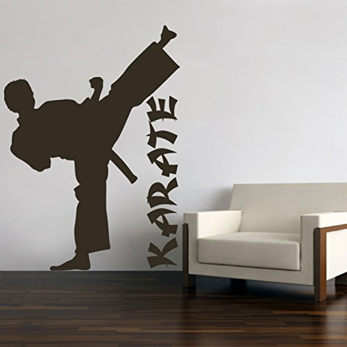 Karate Judo Kungfu Wandtattoo Wandaufkleber Wandsticker Wohnzimmer Kinderzimmer Aufkleber Sticker (80 x 57 cm, Schwarz)