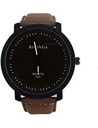 Relojes de Moda Diseño Exclusivo Luxury Fashion Faux Leather Mens Quartz Analog Watch Watches Black Minimalista Negro (Café)