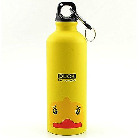 Haosen Ambientalismo alluminio bottiglia di acqua portatile Sports Cup 500 ML (Giallo)