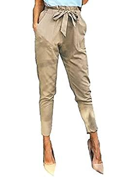StyleDome Mujer Pantalones Pitillo Oficina Moda Elegantes Bolsillos Deportivos Cordón Lazo