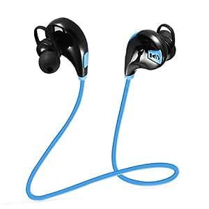 [Oreillette Bluetooth 4.0 & 2-an de Garantie] VicTsing Casque Bluetooth sans fil V4.0 Oreillette Sport avec Microphone, Écouteur d'exercice sans fil Bluetooth Headset pour iPhone 8 8 plus X 7 7 Plus SE 6, Samsung, Huawei P9 P8, etc - Bleu