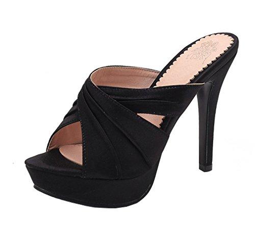 YE Damen Offene High Heels Plateau Mules Slingback Sandalen Stilettos Pantoletten Sommer Elegant Satin Schuhe