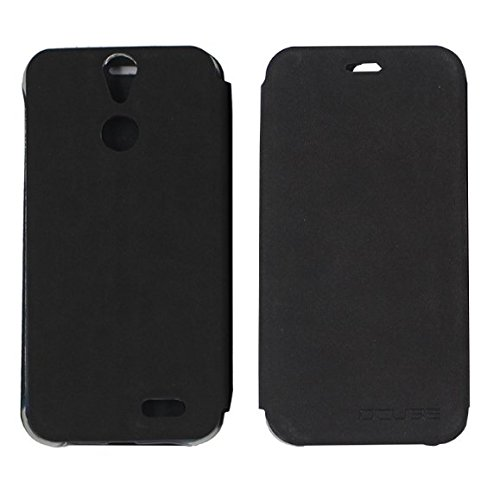 PREVOA ® 丨flip PU Hülle with Hard Plastic Case Cover Case Schutzhülle Tasche für Vernee Thor 5.0 Zoll Smartphone - (Schwarz)