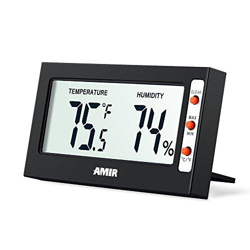 AMIR Hygrometer Thermometer, Digital Hygrometer Luftfeuchtigkeit, Mini Thermo Hygrometer, Raumthermometer, mit Genaue Messwerte und Min/Max Aufzeichnungen, für Gewächshaus, Autos, Haus, Büro (Schwarz)