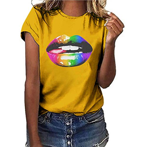 HWTOP T-Shirt Damen Mädchen Tops Große Größen Oberteile Persönlichkeit Sexy Tshirt Lippen Drucken Shirt Kurzarm Bluse -