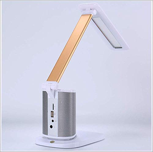 hte mit Bluetooth-Lautsprecher, dimmbare Schreibtisch-Touch-Lampe, USB-Ladeanschluss, Touch-Kontrollleuchte für Büro/Schlafzimmer (Color : White) ()