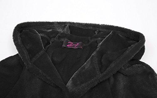 Zexxxy Bademantel mit Kapuze Damen Lang Morgenmantel Flauschig Saunamantel ZE0100 ZE0100-1