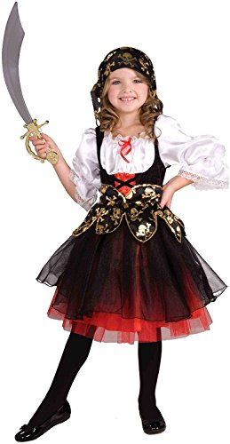 stüm für Mädchen - Piratinkostüm - Schwarz, Weiss, Rot - S - 3-5 Jahre (Kleines Mädchen Piraten-kostüme)