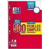 OXFORD Lot de 500 Pages Feuilles Simples Perforées A4 (21 x 29, 7cm) 90g Grands Carreaux Seyès - Maxi Pack