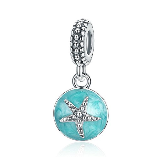 Christmas Gifts Seestern Tier 925Sterling Silber Charms Sea Star Anhänger passend für europäische Armbänder Sterling Silber Baby-ringe Größe 4