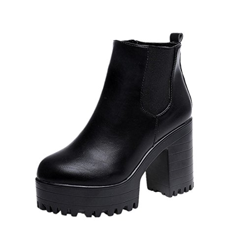 2017 Nouveau Amlaiworld Bottes Femmes Talon Plate-forme Chaussures En Cuir Noir