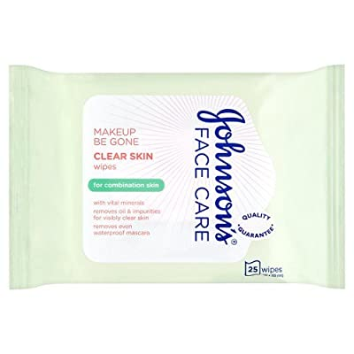 Johnson's Face Care Make-up Be Gone Clear Skin Wipes, 25 Wipes