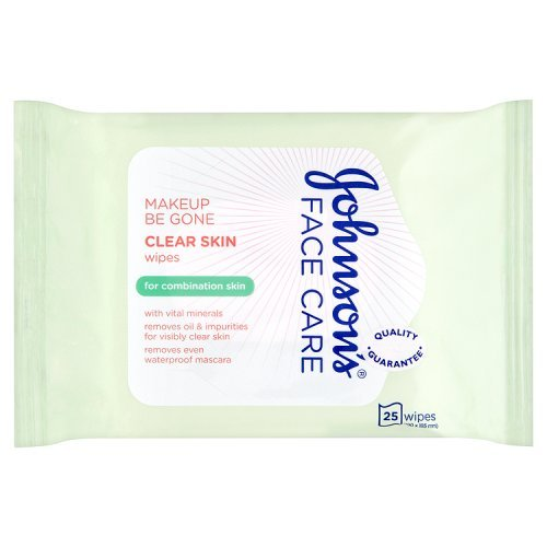 Johnson's Face Care Make-up Be Gone Clear Skin Wipes, Pack of 1 x 25