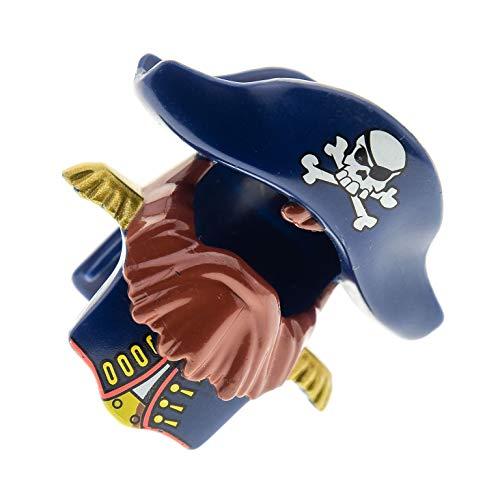 Bausteine gebraucht 1 x Lego Duplo Piraten Figur Helm dunkel blau Bart braun Hut mit Totenkopf Epauletten Seemann Schiffs Kapitän 7880 54062pb02