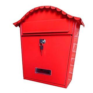 Briefkästen Mailbox Briefkasten Volltonfarbe Villa Briefkasten Einheit Firma Schule Mit Schloss Wandhalterung Metall Schmiedeeisen TINGTING (Farbe : Red, größe : 10.5 * 25 * 37cm)