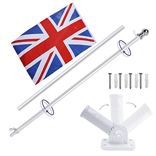 Display4top 6ft Aluminium Flag Pole Kit Mit Einstellbarer 180 Grad Wandhalterung + 1 STÜCK Flagge (UK Flag) (National Hardware-ring)