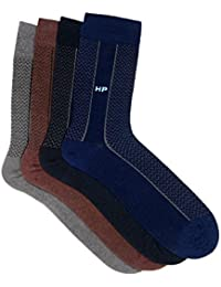 Hush Puppies Men's Calf Length Soft Combed Cotton Pack of 4 Pair Socks