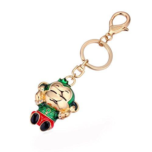 Bishilin Schmuck Vergoldet Schlüsselanhänger Grün Rot Affe Taschenanhänger Gold Schlüsselanhänger