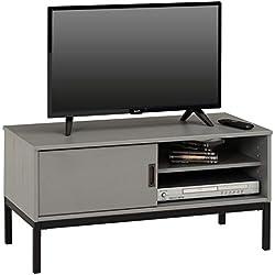 IDIMEX Meuble TV Selma Banc télé de 98 cm au Style Industriel Design Vintage avec 1 Porte coulissante et 1 Compartiment Ouvert, en pin Massif lasuré Gris