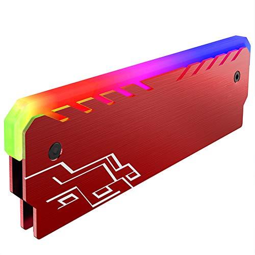 RGB Speicher RAM Kühler DDR Kühlkörper mit Controller - für DIY PC Game Overclocking MOD DDR3 DDR4 (kompatibel mit ASUS Aura Sync, MSI Mystic Light Sync, ASRock Polychrom) rot 1 Stück -