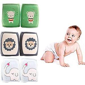 Rodilleras G-Tree 3 pares de bebé para el rastreo, Bebés antideslizante y proteger las rodillas y piernas, correas ajustables y malla transpirable 3D para regalo del muchacho del niño 10