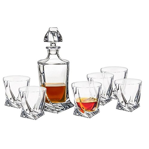 bohemia-quadro-glass-decanter-set-850-ml-with-6-matching-340ml-glasses-gift-boxed-set