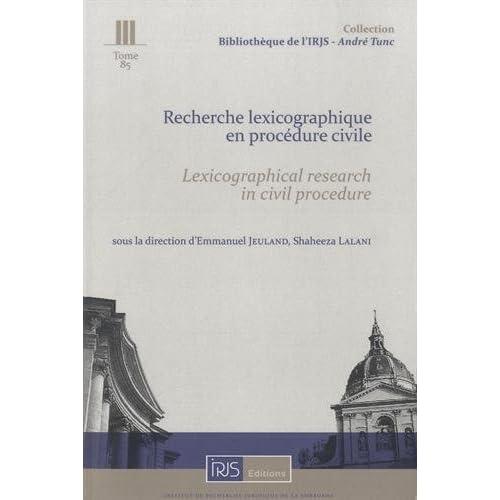 Recherche lexicographique en procédure civile