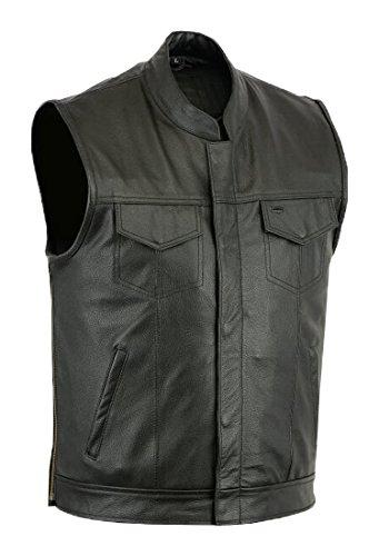 Chaleco de piel para hombre, diseño motero, color negro