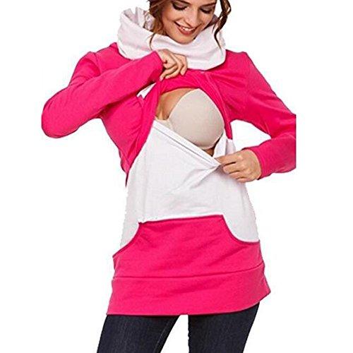 Gagacity Umstand Damen Hoodie Stillpullover Sweatshirt Schwanger Winter Umstandsmode mit Spleißtaschen Rosa/L