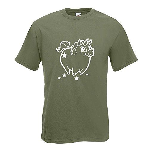 KIWISTAR - Pummeliges Einhorn T-Shirt in 15 verschiedenen Farben - Herren Funshirt bedruckt Design Sprüche Spruch Motive Oberteil Baumwolle Print Größe S M L XL XXL Olive