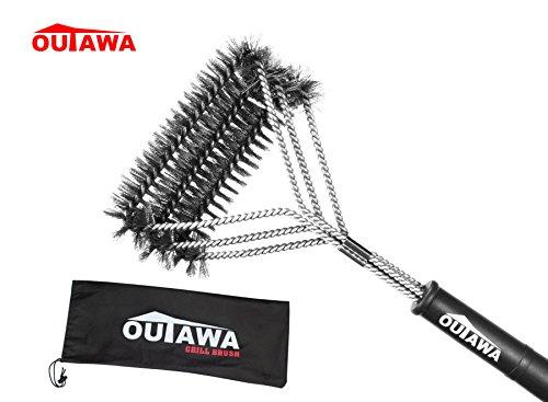 OUTAWA Grillbürste mit 100% Edelstahlborsten | Robuste 3 in 1 Premium Reinigungsbürste Drahtbürste mit 45 cm langem Kunststoffgriff | Stahlbürste für alle Grills & Oberflächen geeignet