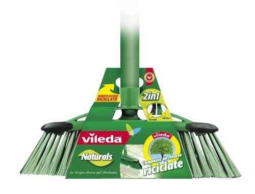 Vileda 2-in-1 Naturals Scopa con Manico Per Interni, in Materiale Riciclato, Ideale per Ogni Tipo di Sporco e di Pavimento