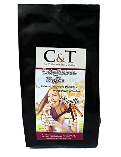 Kaffee mit Geschmack, ohne Koffein! Entkoffeinierter Kaffee mit natürlichen Aromen: Vanille (GANZE...