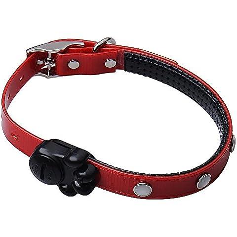 Vyage (TM) 3 colori Collare per gatti con fibbia di sicurezza campana Camoscio TPU del cucciolo del cane del gattino del gatto Hound Pup animali Collari Kitten piombo collana