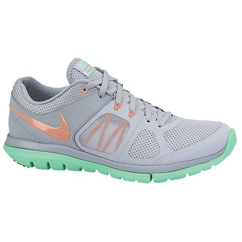 Nike Women's Flex 2014 Run Light Magnet Grey/Green Glow/White/Bright Mango Sneaker 11 B - Schuhe Flex Run Nike Womens