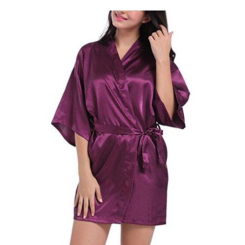 Xinvision Mädchen Kimono Robe Volltonfarbe Seide Satin Nachtwäsche Oblique V-Ausschnitt Nachthemd Kurzer Stil Lingerie Nightdress Schlafanzüge Bademantel für Frauen