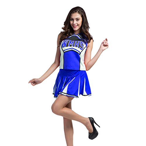 VENI MASEE Sexy Damen Varsity Abitur Cheer Mädchen Cheerleading Uniform Halloween Kostüm (S, Blue1061)