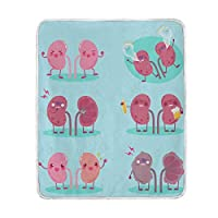BALII Funny Human Organs Throw Blanket Soft Warm for Bed Sofa Couch Travelling 127x153cm