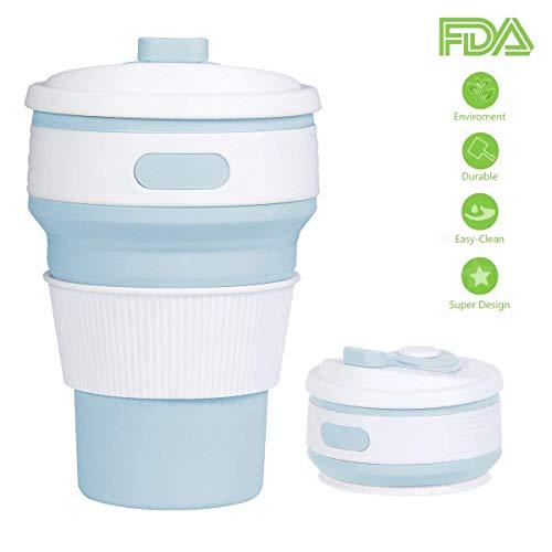 Yomym tazza da viaggio pieghevole, portatile tazza in silicone piegato richiudibile tazza pieghevole con coperchio tazza da caffè da viaggio per famiglia, campeggio, esterno e lavoro, 350ml