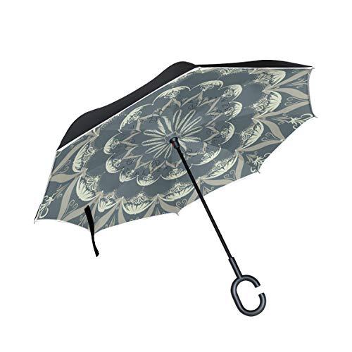 Wamika Paraguas invertido de Doble Capa con diseño de Mandala Oriental para Colorear, con diseño de Flores de Loto, Resistente al Viento, protección UV, no automático, Grande, Recto, en Forma de C
