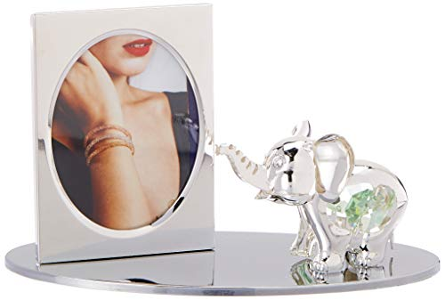 Silver Plated Picture Frame with Crystal Decorated Cartoon Elephant Figurine on a Base by Matashi by Matashi -