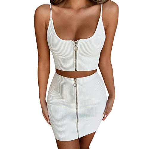 Damen 2 Stück Outfit Set Frontzipper Cami Top und Röcke Set Skinny Crop Top Rock Zweiteiliges Set Navel Exposed Bodycon Set für Frauen - Skinny Rock