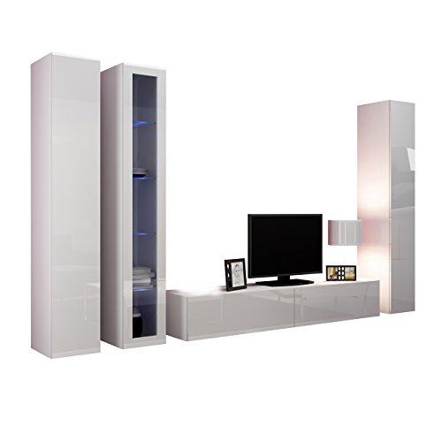 Wohnwand VIGO II Anbauwand Modernes Wohnzimmer set, Mediawand, Glasvitrine, Hängeschrank TV-Schrank (mit blauer LED Beleuchtung, Weiß / Weiß Hochglanz)