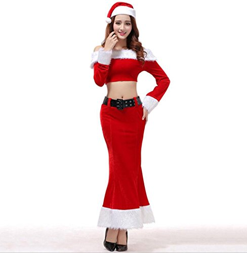 Santa Kostüm Mrs Samt - Marcus R Caveggf Frauen Fräulein Santa Kostüm Damen Red Sexy Fräulein Mrs Santa Weihnachten Samt Phantasie Langes Kleid Glamorous Kostüm Outfit