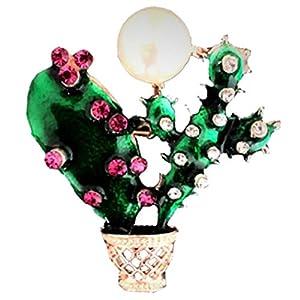 Bunte Pflanze Brosche Kaktus Chest Pin Strass Bekleidung Accessoires für Frau